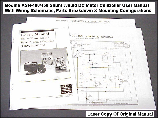 Bodine ASH-400 DC Motor Controller Manual, Wiring Diagram, Pin Out & Parts  Etc | eBayeBay